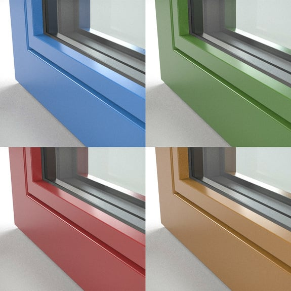 As superfícies em cores sólidas de alumínio estão disponíveis em muitas cores.