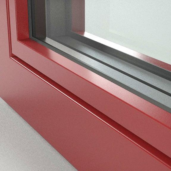 Aluminium window frames in red