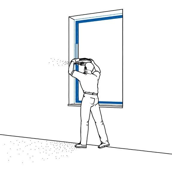 1.º passo: Cortar o aro de janela.